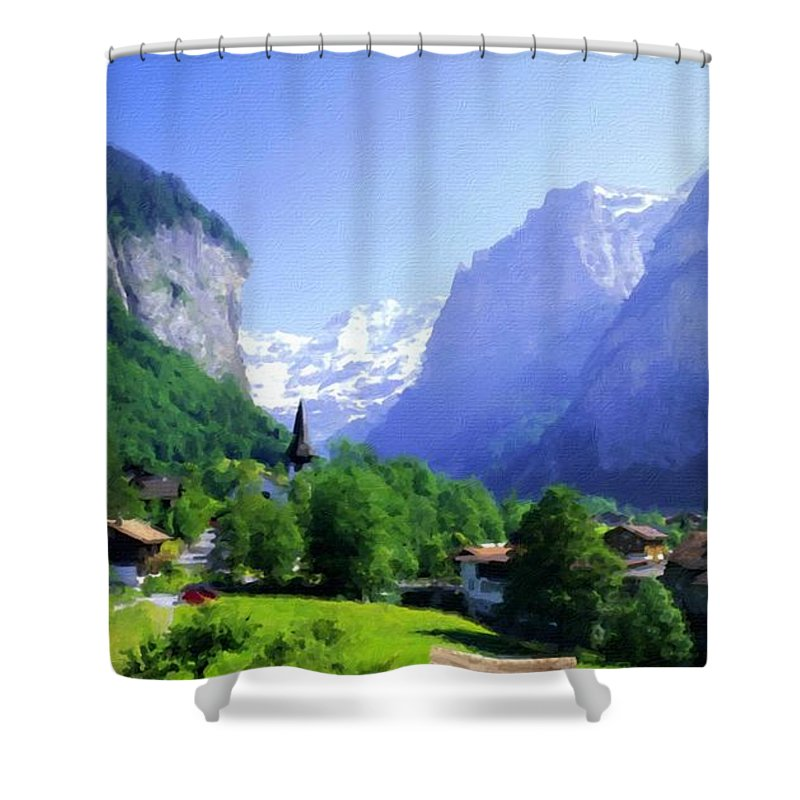 Landscape Shower Curtain featuring the digital art Show Landscape by Usa Map