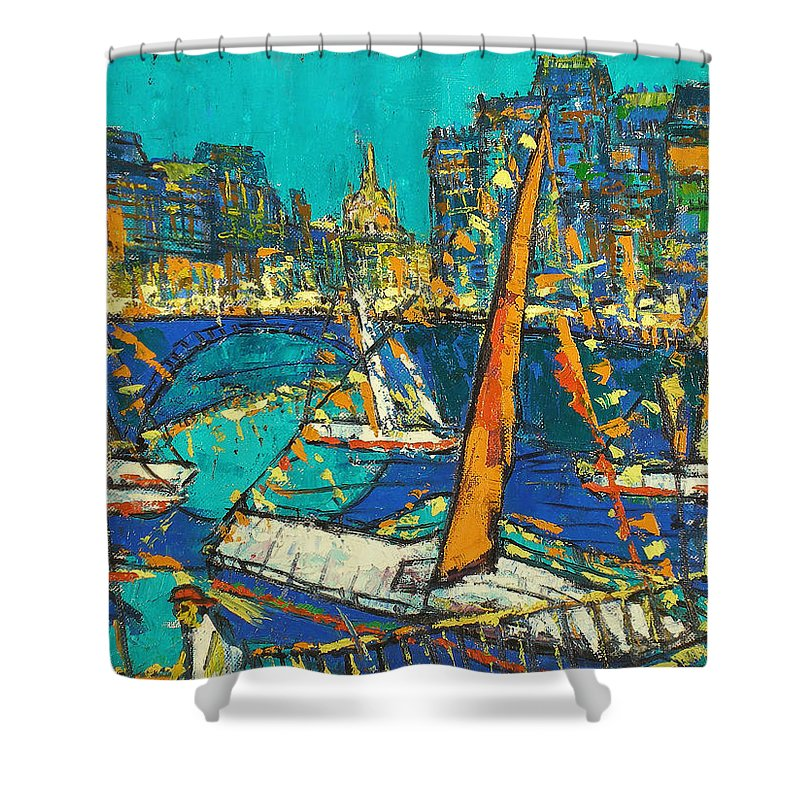 Bay Shower Curtain featuring the painting City by Robert Nizamov