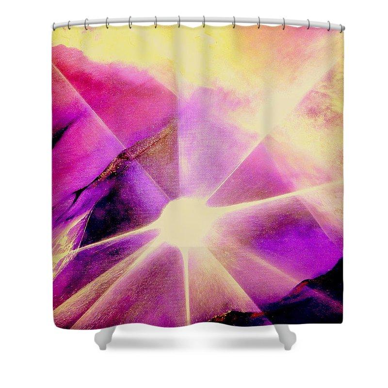 Sunrise.light Shower Curtain featuring the painting Rising Sun by Kumiko Mayer