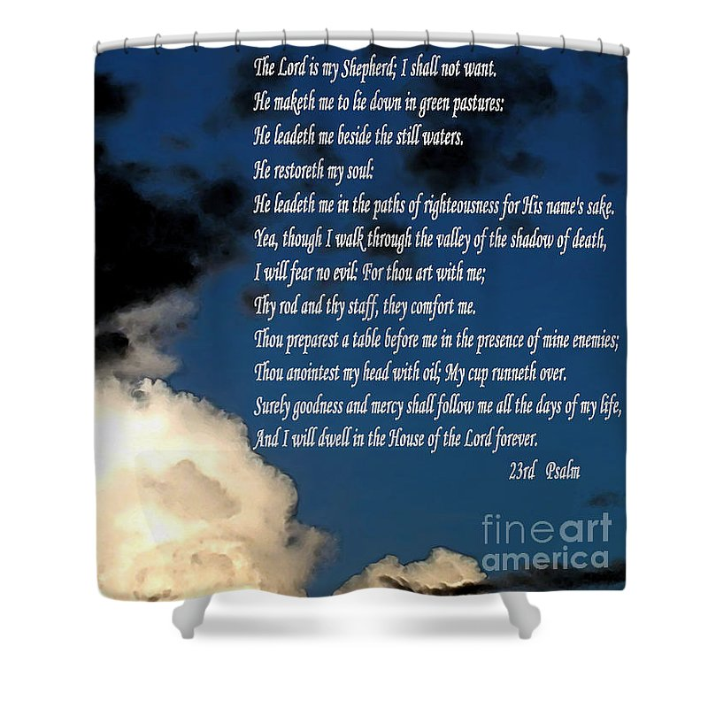 23rd Psalm Shower Curtain featuring the painting 23rd Psalm by Methune Hively
