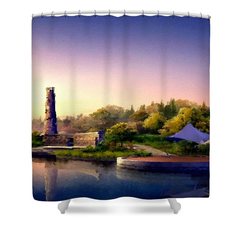 M Shower Curtain featuring the digital art Landscape R Us by Usa Map