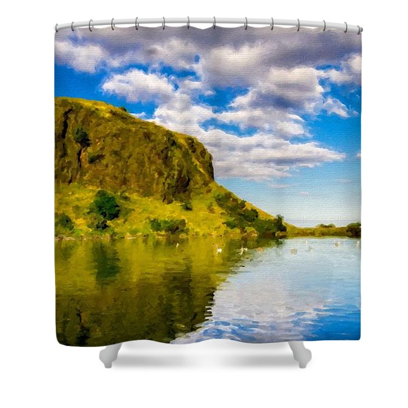Oil Shower Curtain featuring the digital art Landscape Wall by Usa Map