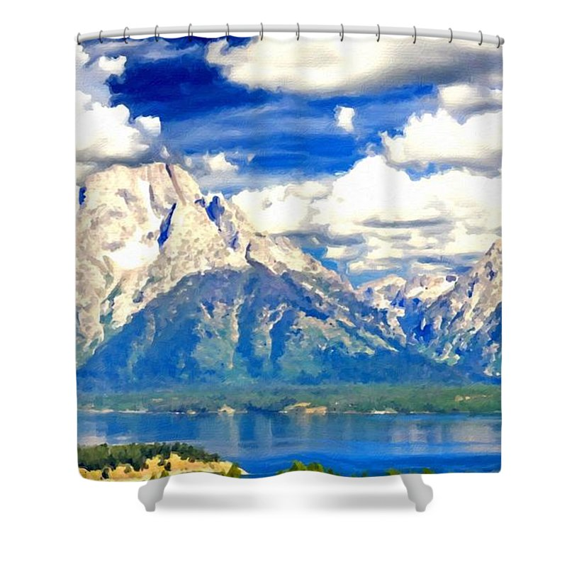 Art Shower Curtain featuring the digital art Romantic Landscape by Usa Map