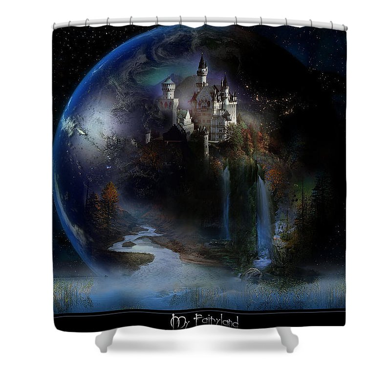 City Shower Curtain featuring the digital art City by Mery Moon