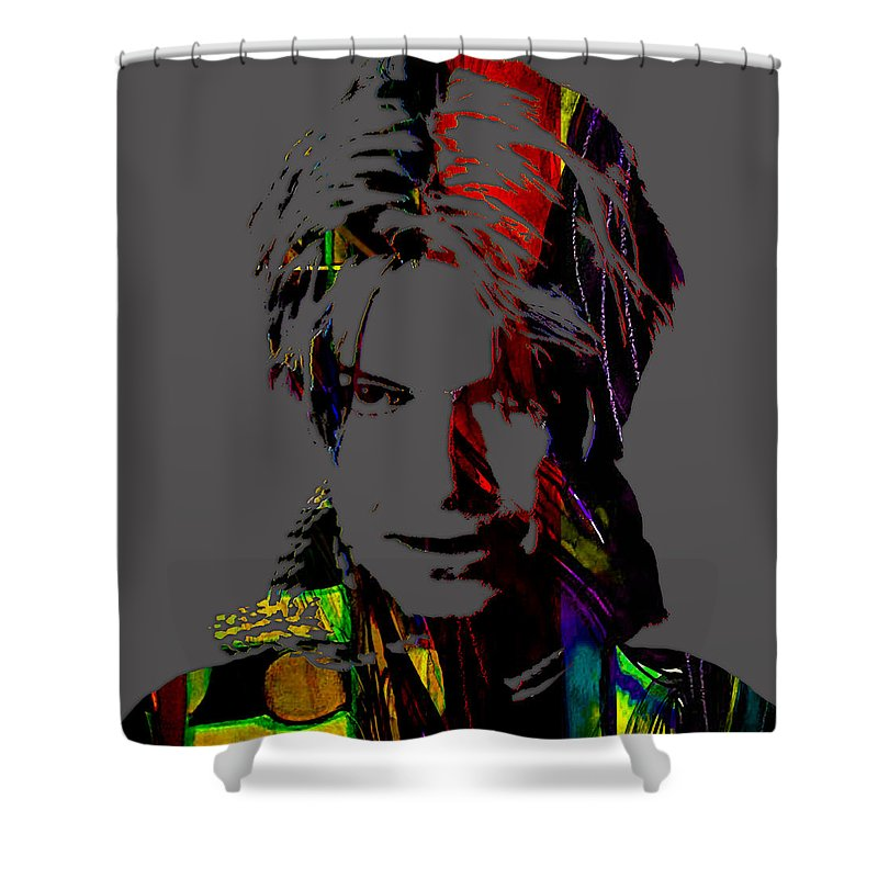David Bowie Shower Curtain featuring the mixed media David Bowie Collection by Marvin Blaine