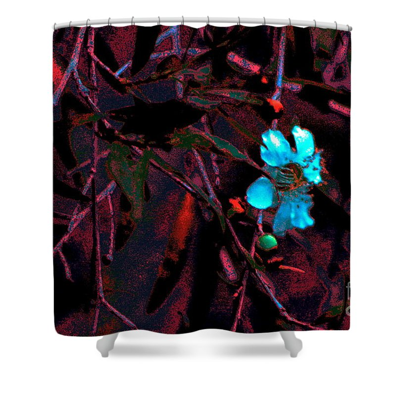 Landscape Flowers Blooms Art Photography Shower Curtain featuring the digital art Blooms by Tza Tzart