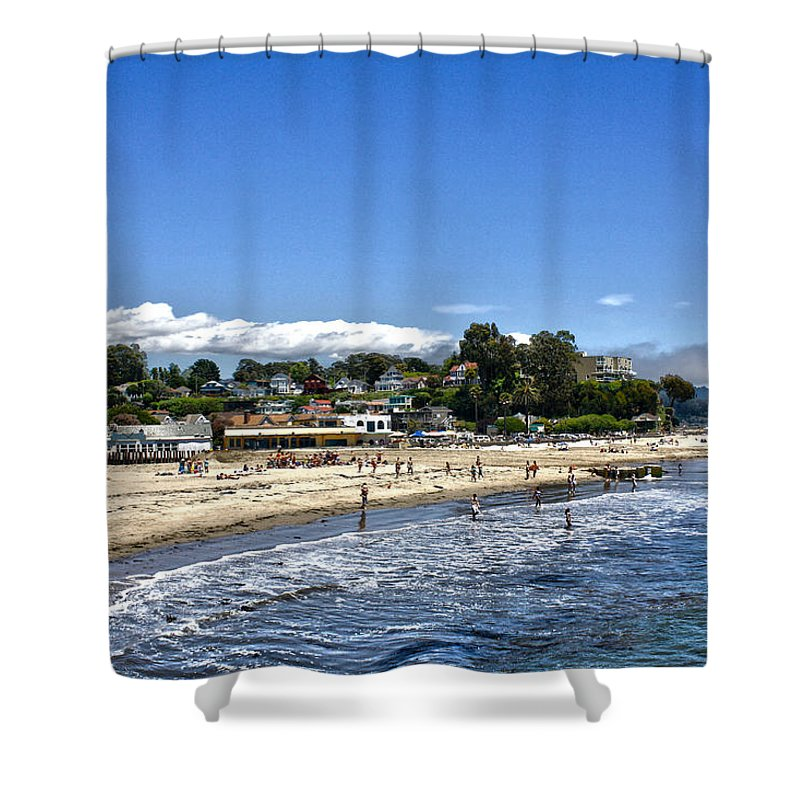 Landscape Shower Curtain featuring the photograph 268 - Capitola Village 1hdr by Chris Berry
