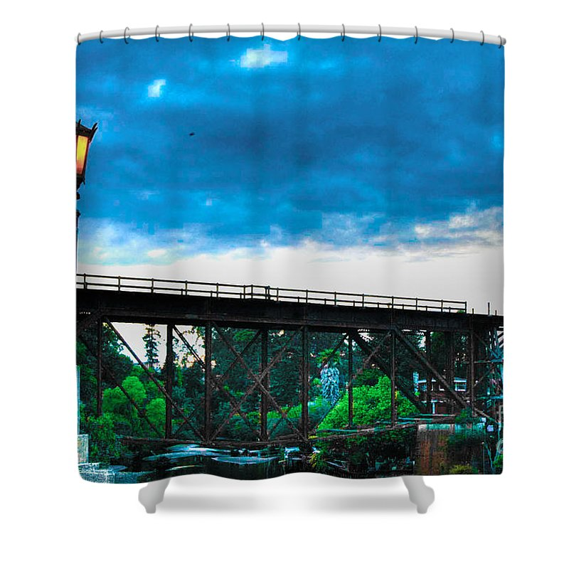 Landscape Shower Curtain featuring the photograph 269 - Capitola Village 2 Hdr by Chris Berry
