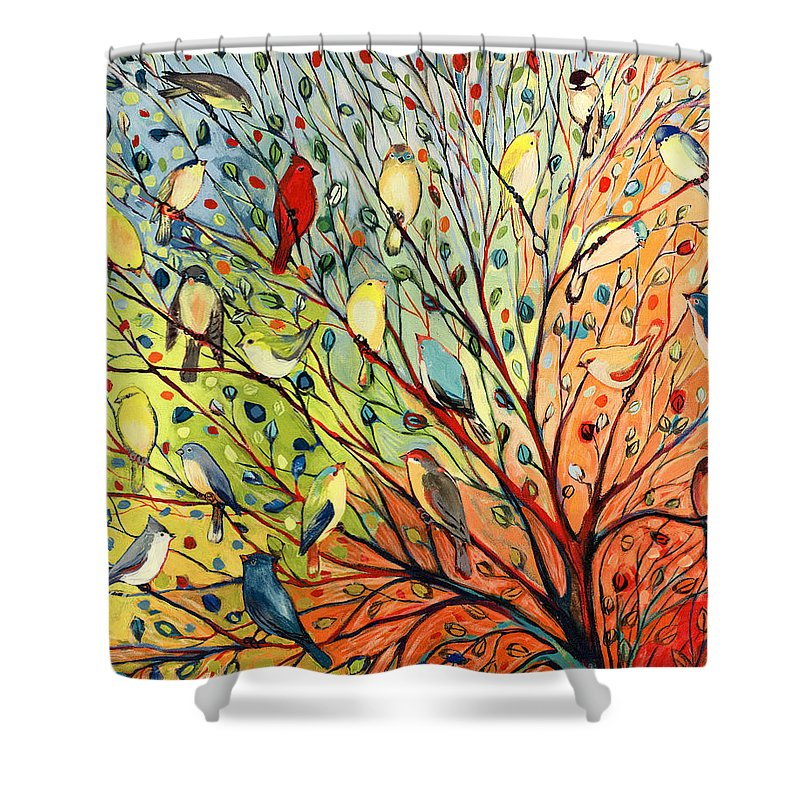 Bird Shower Curtain featuring the painting 27 Birds by Jennifer Lommers