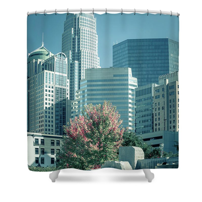 Park Shower Curtain featuring the photograph Charlotte North Carolina Cityscape During Autumn Season by Alex Grichenko