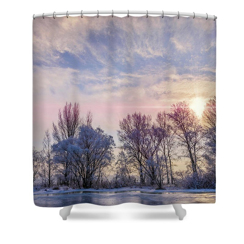 Dnieper Shower Curtain featuring the photograph Frozen Water, Snow And Ice On The Dnieper River by Alain De Maximy