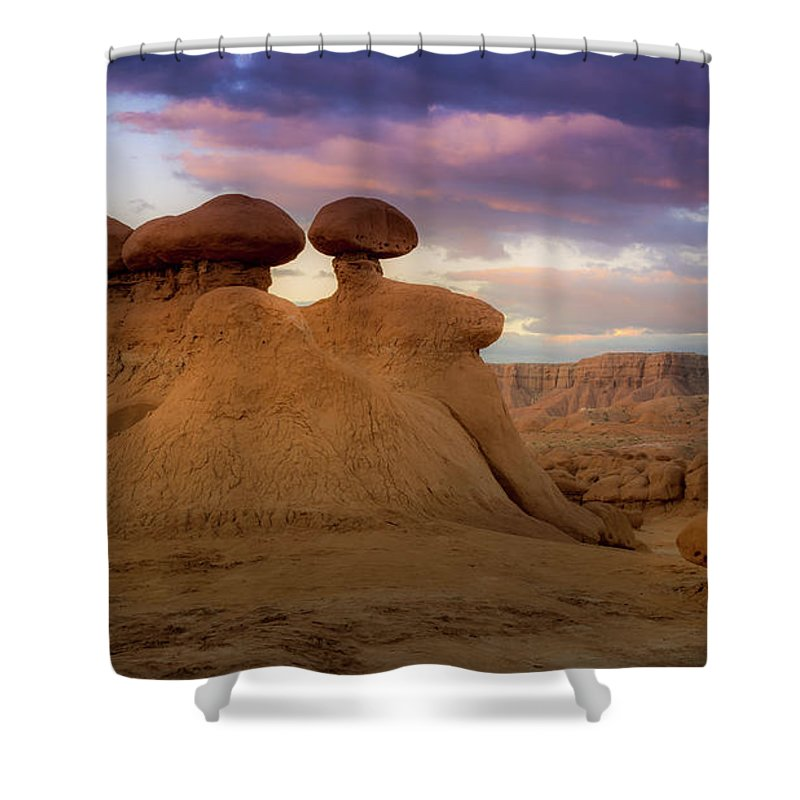 Goblin Valley Shower Curtain featuring the photograph Goblin Valley by Jon Manjeot