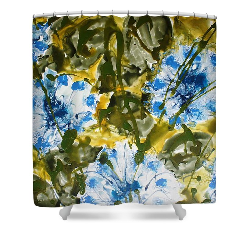 Flowers Shower Curtain featuring the painting Divine Blooms by Baljit Chadha