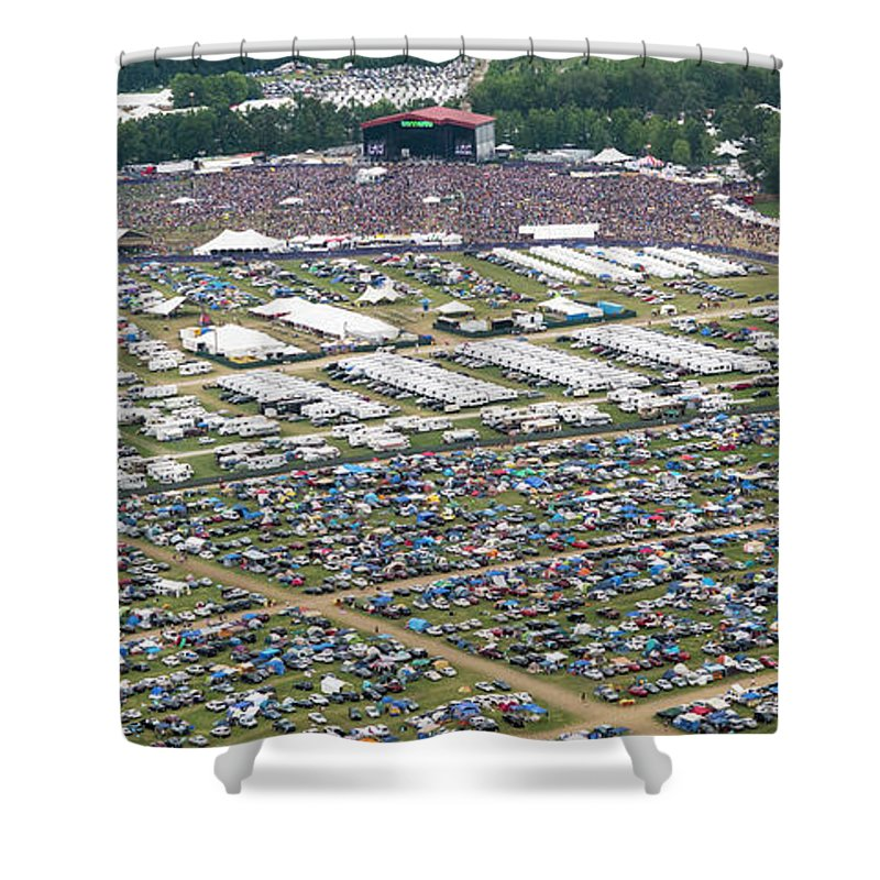 Bonnaroo Shower Curtain featuring the photograph Bonnaroo Music Festival Aerial Photography by David Oppenheimer