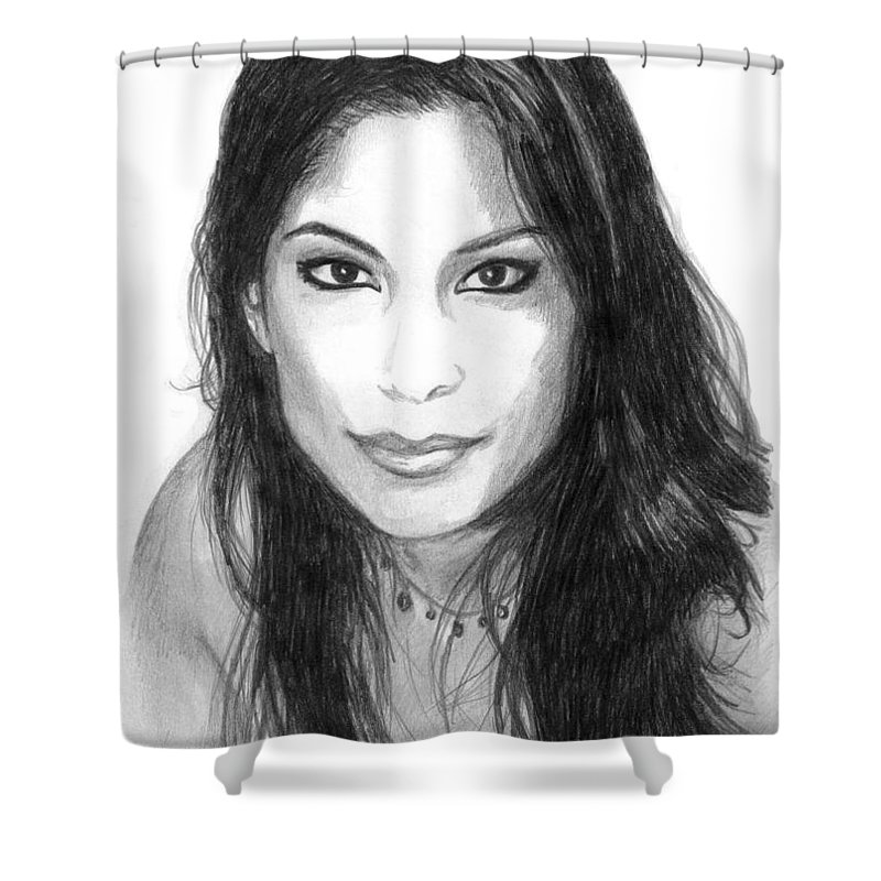 #woman Shower Curtain featuring the drawing Nikki by Kristopher VonKaufman