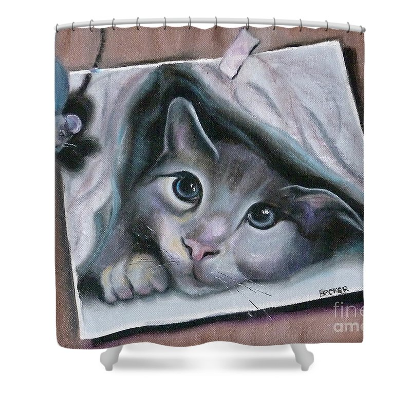 Cat Shower Curtain featuring the painting 2cute by Susan A Becker