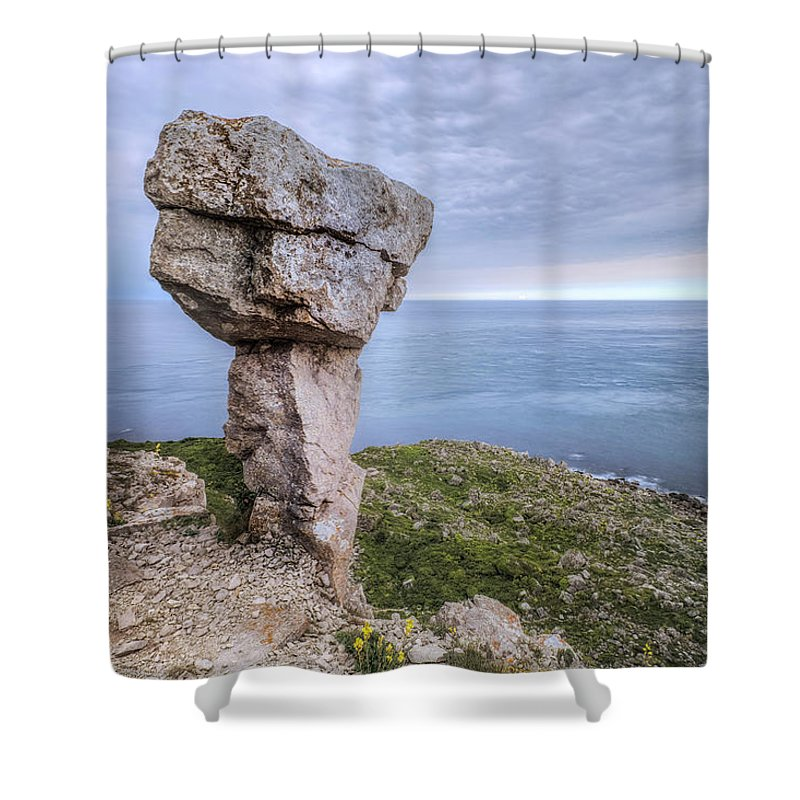 Adhelm's Head Shower Curtain featuring the photograph Adhelm's Head - England by Joana Kruse