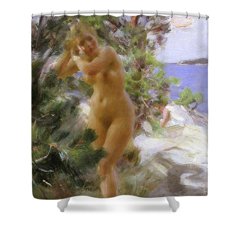 Anders Zorn Shower Curtain featuring the painting After The Bath by Anders Zorn