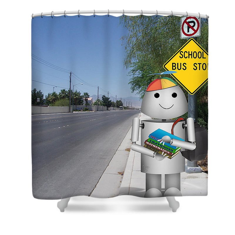 Back To School Shower Curtain featuring the digital art Back To School Little Robox9 by Gravityx9 Designs