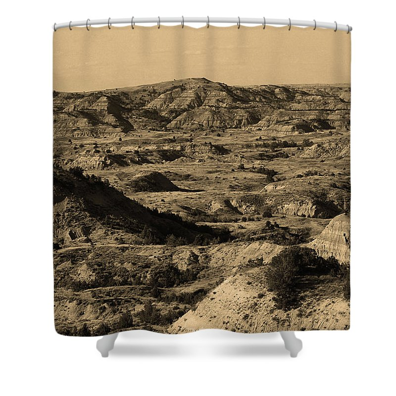 Art Shower Curtain featuring the photograph Badlands by Frank Romeo