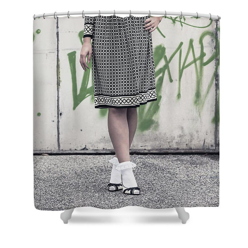 Female Shower Curtain featuring the photograph Black And White by Joana Kruse