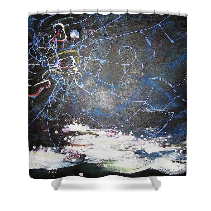 Abstract Paintings Shower Curtain featuring the painting Buckwheat Field by Seon-Jeong Kim