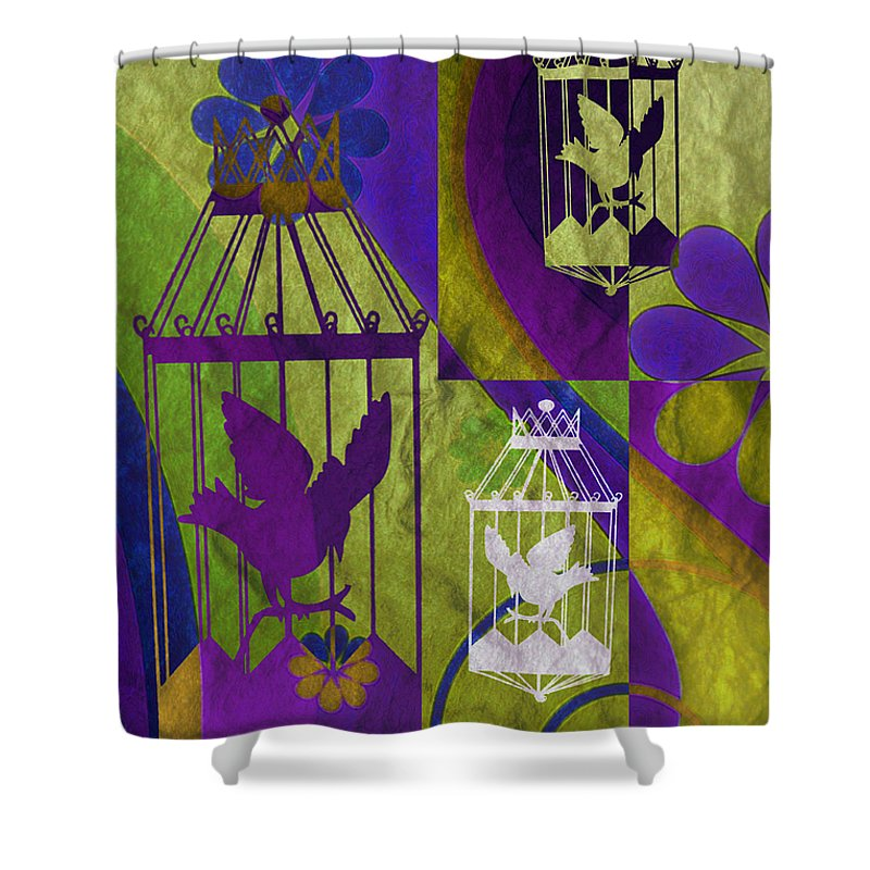Silhouette Shower Curtain featuring the mixed media 3 Caged Birds by Angelina Tamez