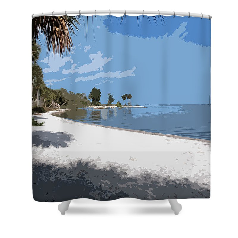 Castaway Shower Curtain featuring the painting Castaway Point On The Indian River Lagoon With Coquina Rock by Allan Hughes