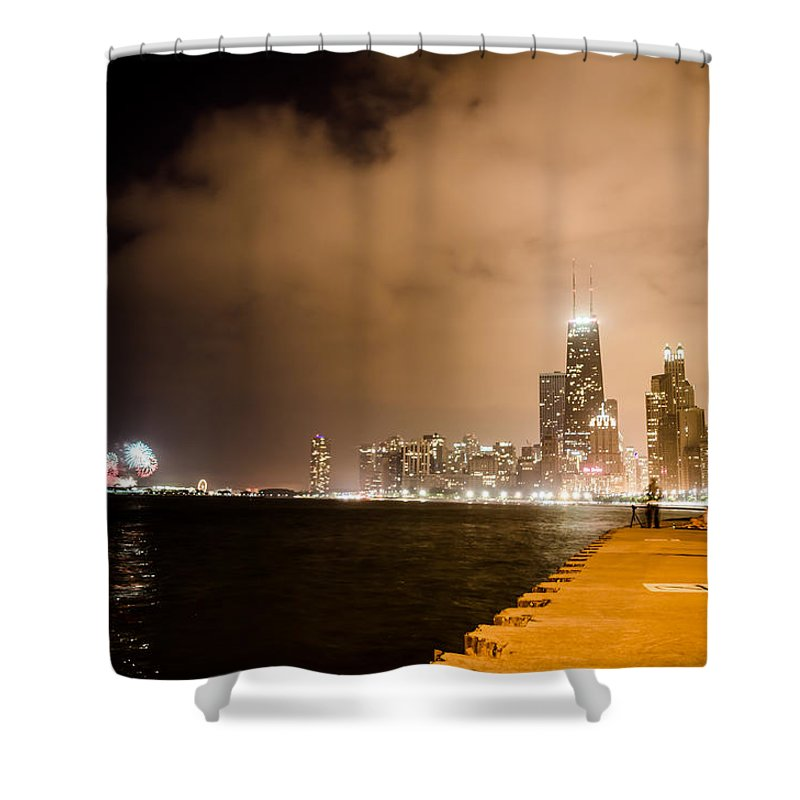 4th Shower Curtain featuring the photograph Chicago Skyline Fireworks by Anthony Doudt