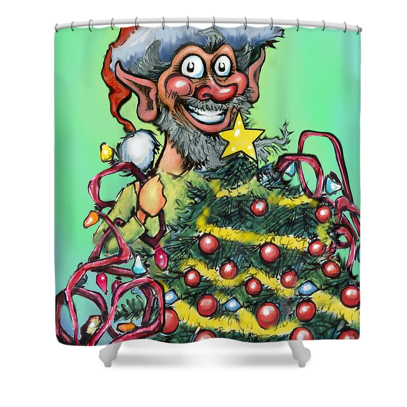 Christmas Shower Curtain featuring the digital art Christmas Elf by Kevin Middleton