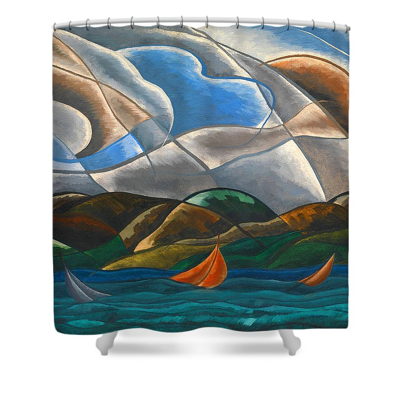 Arthur Dove Shower Curtain featuring the painting Clouds And Water by Arthur Dove