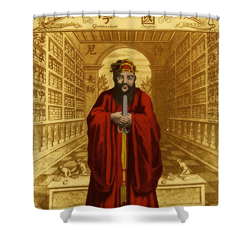 Confucius Shower Curtain featuring the photograph Confucius, Chinese Philosopher 3 by Photo Researchers