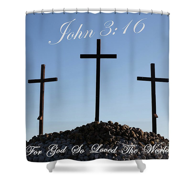 Crosses;easter;jesus;rocks;christian;religion;good Friday; Palm Sunday;baptist;resurrection;scripture;old Rugged Cross; Shower Curtain featuring the photograph 3 Crosses by Sue Huffer