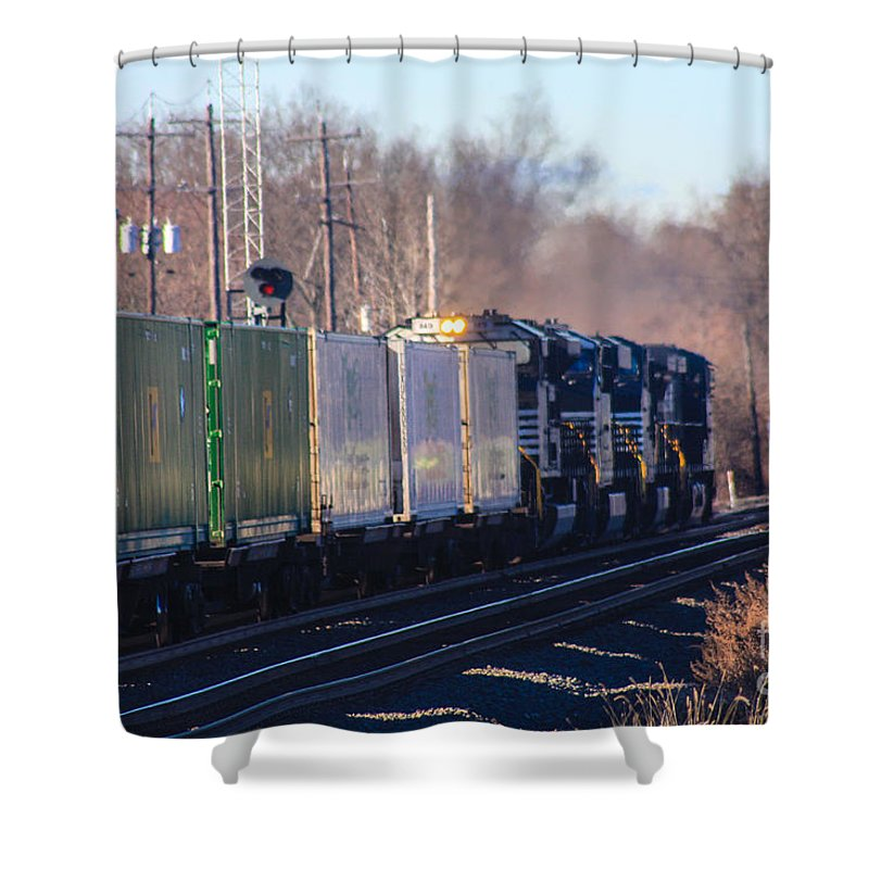 Bound Brook New Jersey Shower Curtain featuring the photograph 3 Engine Team by William Rogers