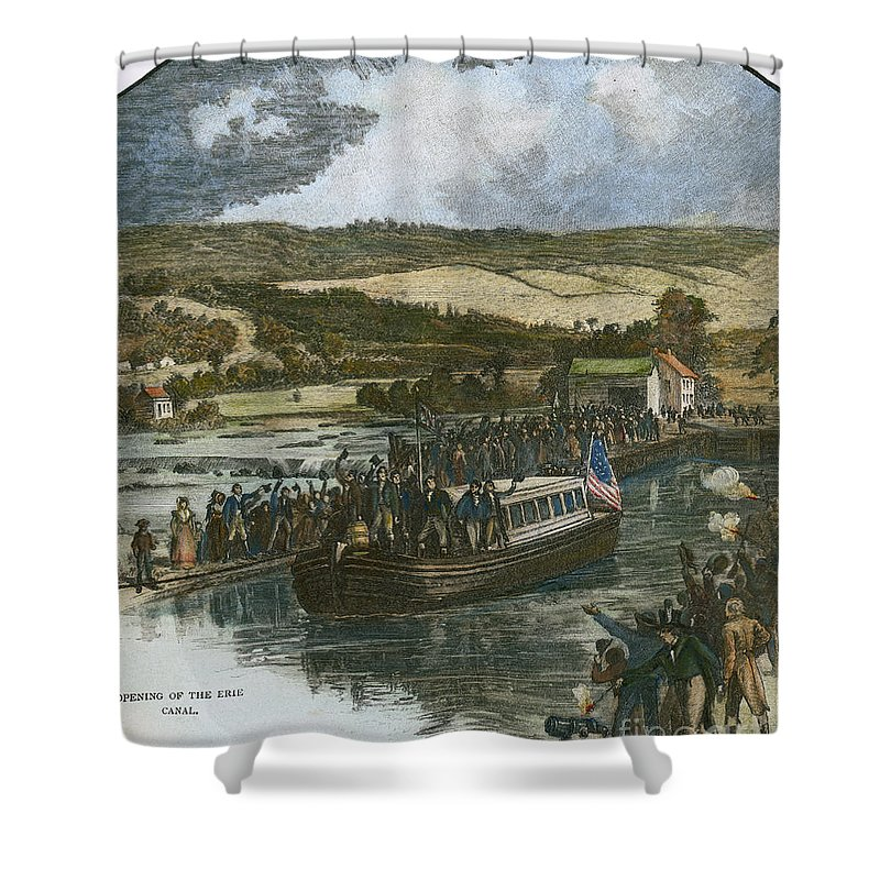 1825 Shower Curtain featuring the photograph Erie Canal Opening, 1825 by Granger