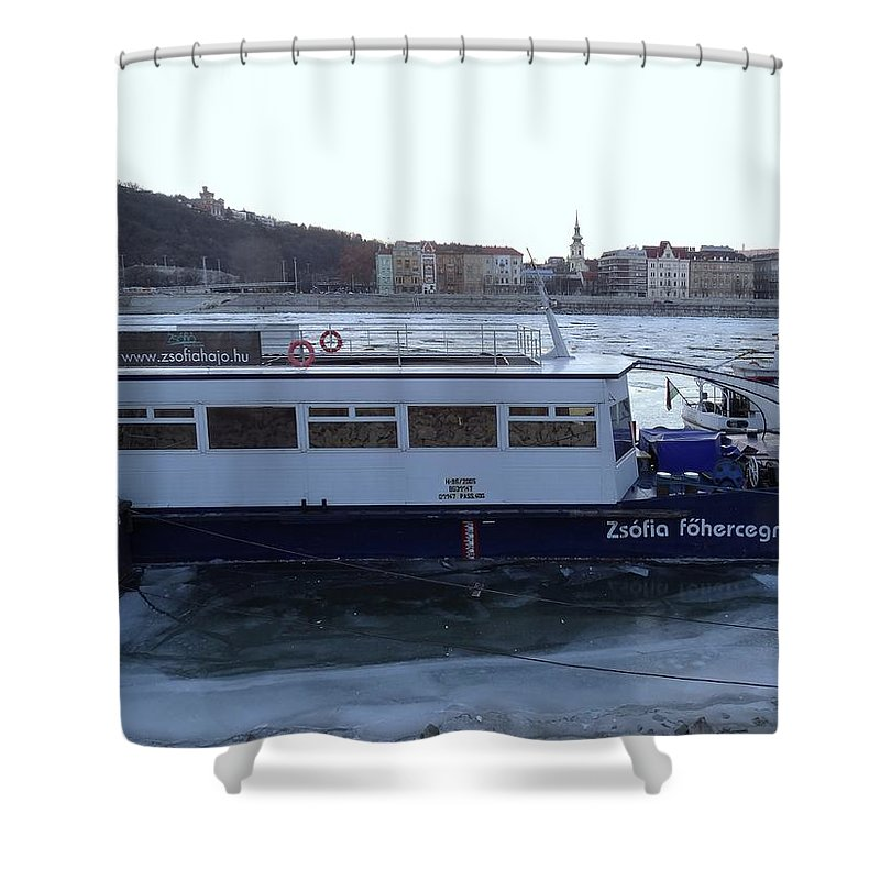 Danube Shower Curtain featuring the photograph Genre Picture By Frozen Danube by Explorer Lenses Photography