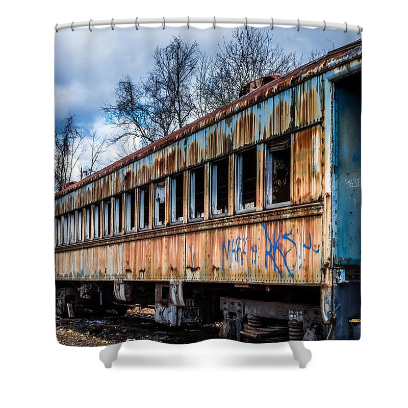 Train Shower Curtain featuring the photograph Ghost Train by Ray Greyling