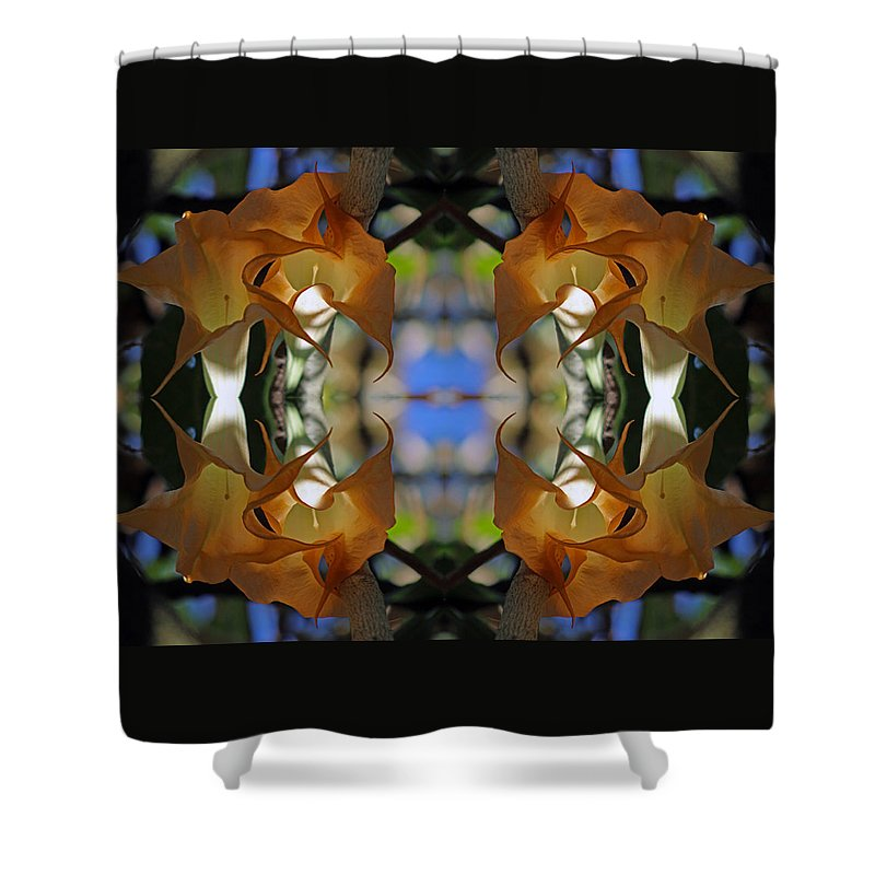 Mirrored Image Shower Curtain featuring the photograph Golden Trumpet Flower Mandala by Daniel Unfried