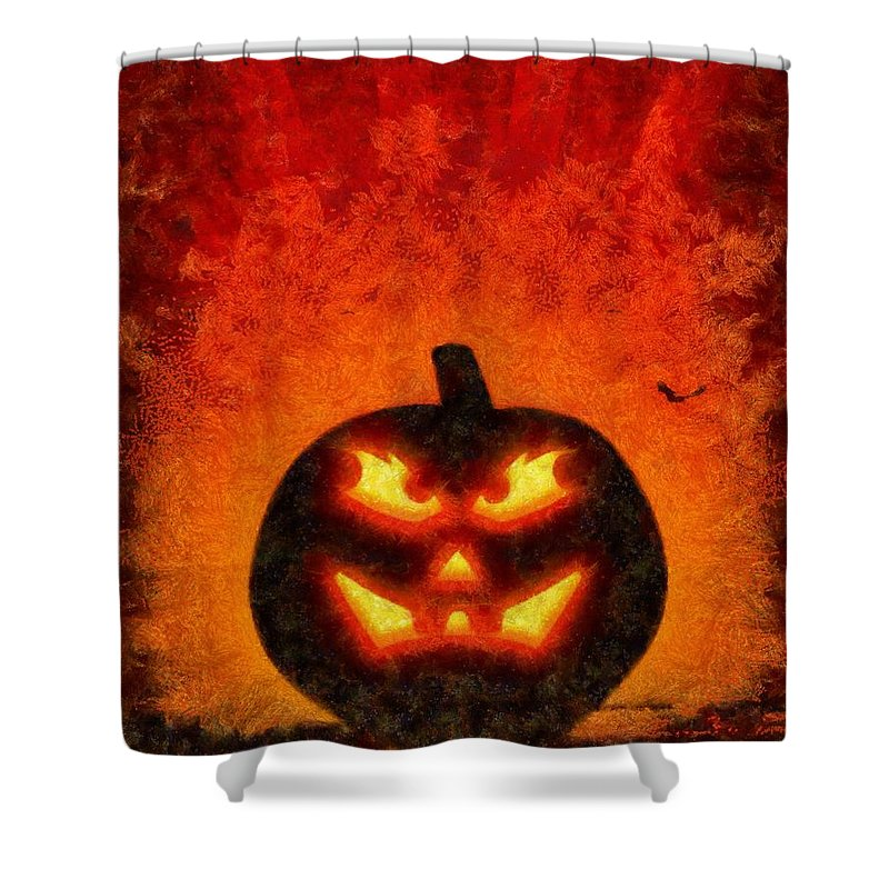 Fantasy Shower Curtain featuring the painting Halloween Pumpkin by Sarah Kirk