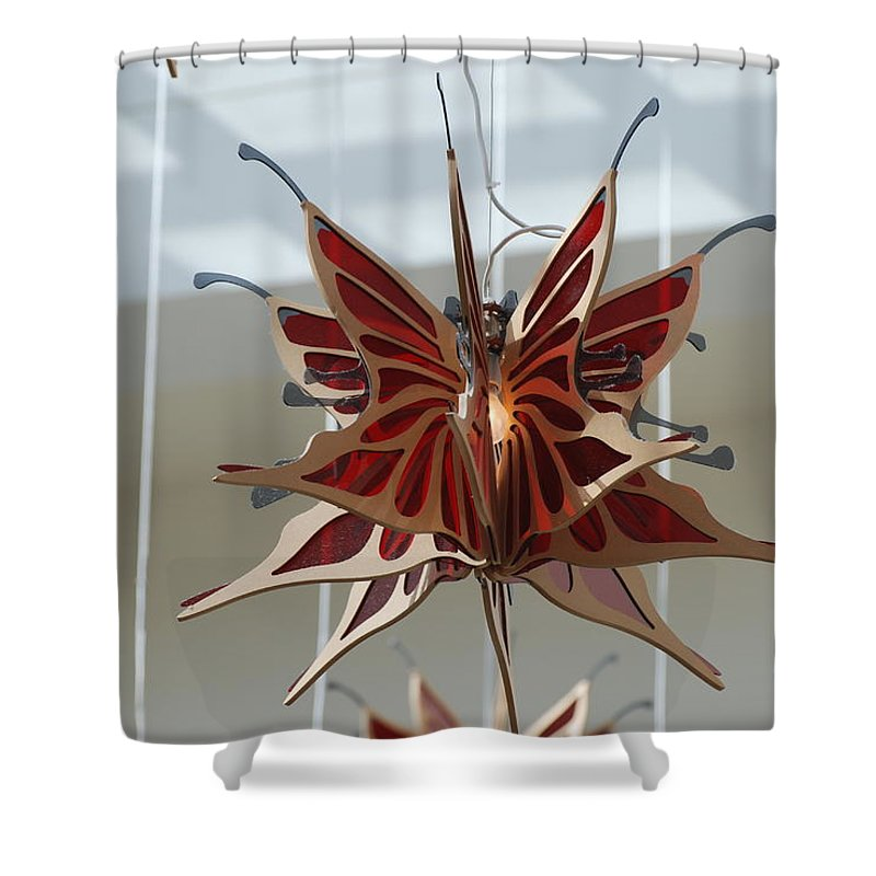 Architecture Shower Curtain featuring the photograph Hanging Butterfly by Rob Hans