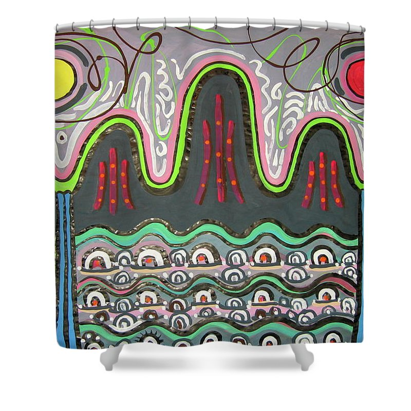 Korean Art Shower Curtain featuring the painting Ilwolobongdo Abstract Landscape Painting2 by Seon-jeong Kim