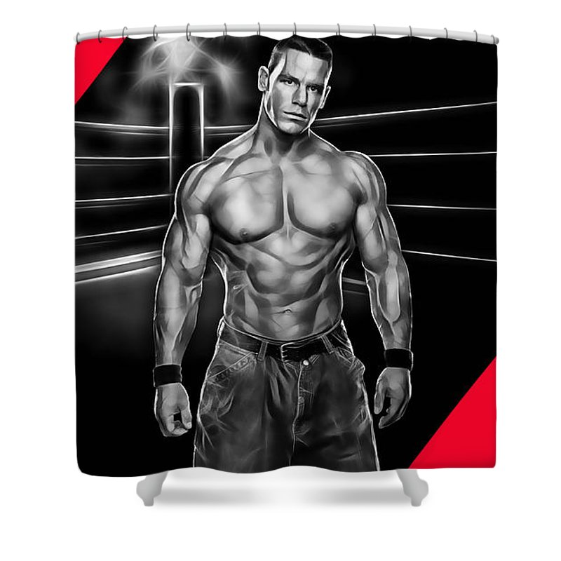 John Cena Shower Curtain featuring the mixed media John Cena Wrestling Collection by Marvin Blaine