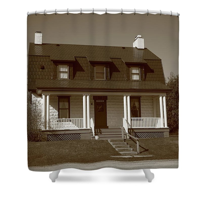 America Shower Curtain featuring the photograph Keeper's House - Presque Isle Light Michigan by Frank Romeo