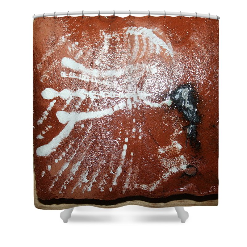 Jesus Shower Curtain featuring the ceramic art Last One - Tile by Gloria Ssali