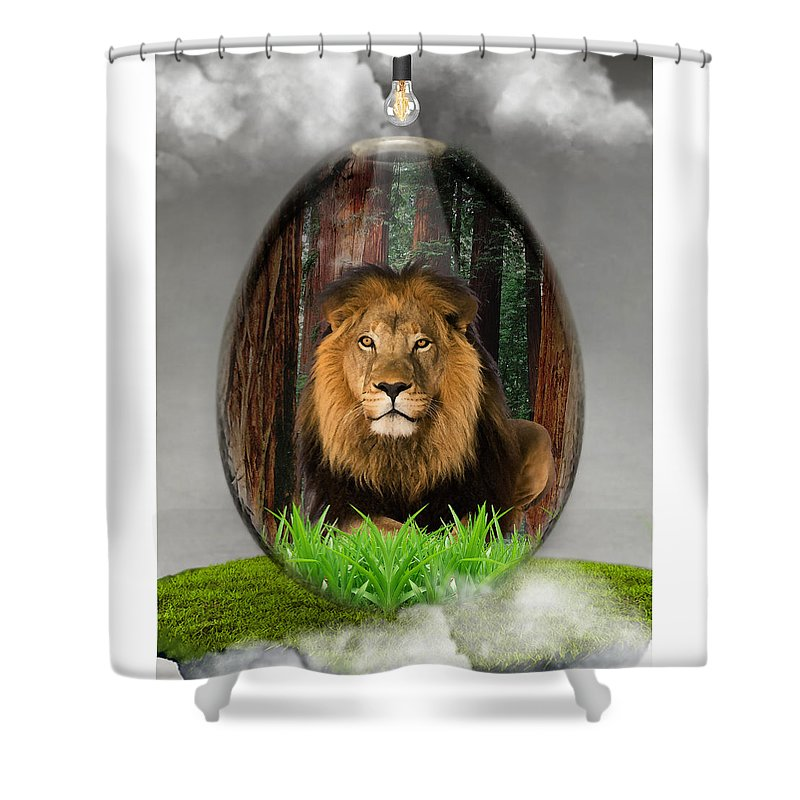 Lion Shower Curtain featuring the mixed media Lion Art by Marvin Blaine