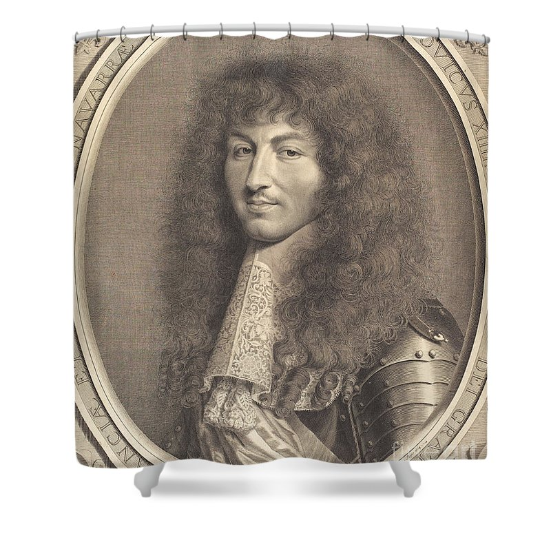 Shower Curtain featuring the drawing Louis Xiv by Robert Nanteuil