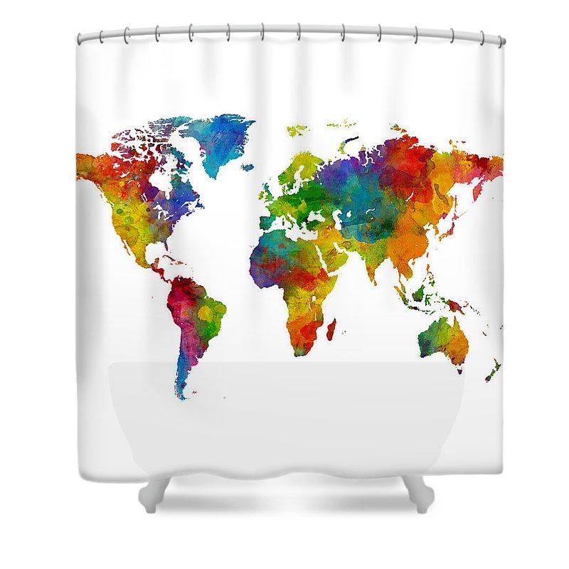 World Atlas Shower Curtains