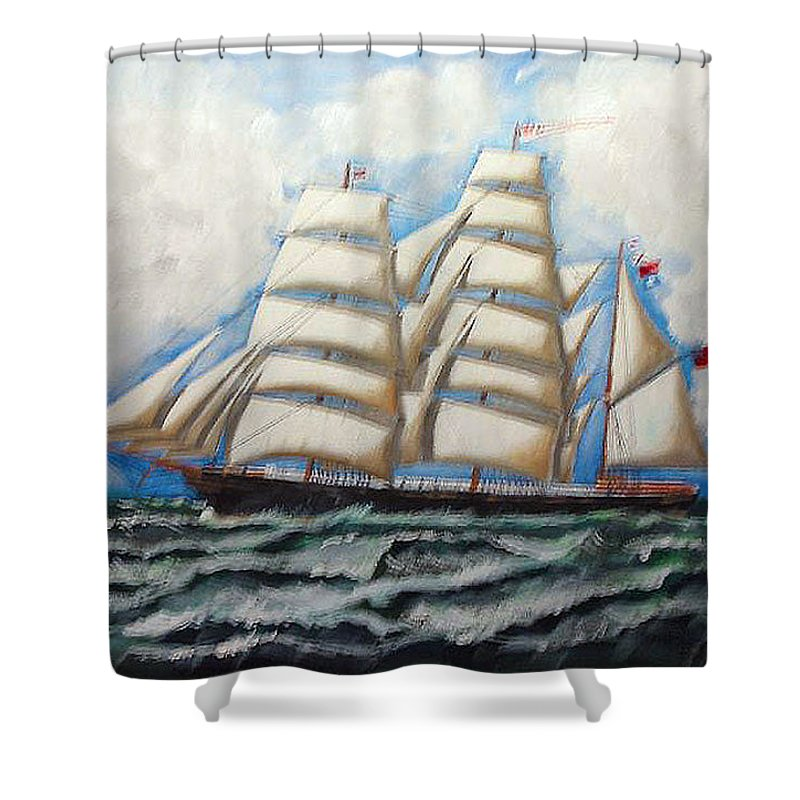 Tall Ship Shower Curtain featuring the painting 3 Master Tall Ship by Richard Le Page