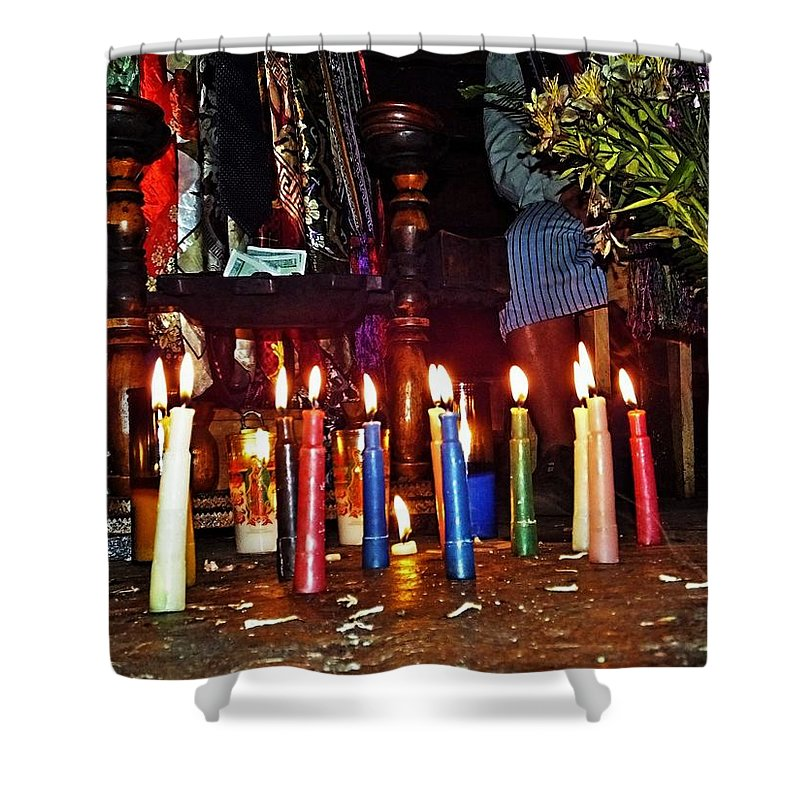 Colorful Shower Curtain featuring the photograph Mayan Ceremony by Gianni Bussu