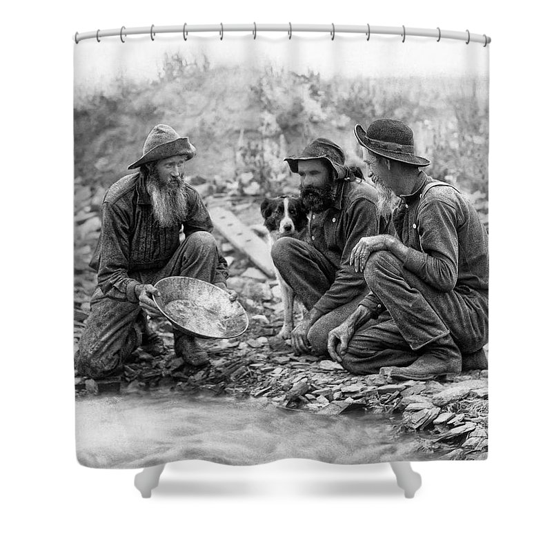 Gold Shower Curtain featuring the photograph 3 Men And A Dog Panning For Gold C. 1889 by Daniel Hagerman